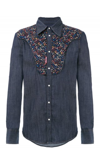 CAMICIA ML DENIM WESTERN CONTRASTO