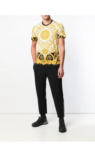T-shirt mm slim stampa Gold Hibiscus