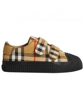 Sneakers strappi motivo vintage check