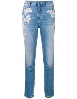 Jeans 5 tasche skinny ricamo