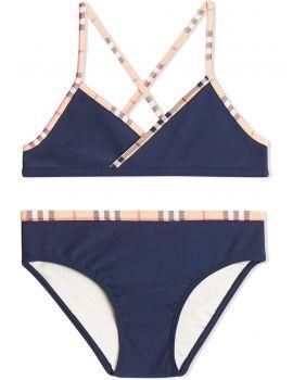 Bikini con finiture tartan