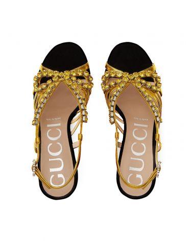 Sandalo in velluto e pelle con cristalli
