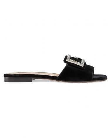 Sandalo slider velluto G c/cristalli