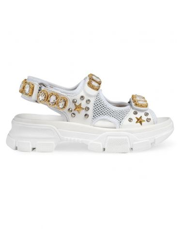 Sandalo in pelle e rete c/cristalli