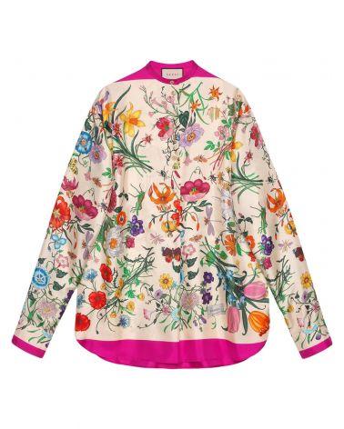 Camicia ml oversize c/stampa Flora