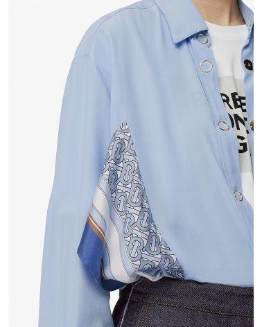 Camicia in seta con stampa monogramma