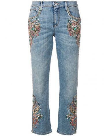 Jeans 5 tasche ricami in cristallo