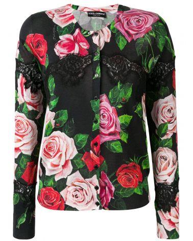 Cardigan bottoni mix rose