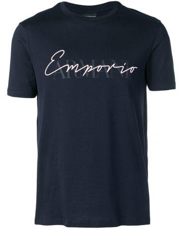 T-Shirt mm giro stampa e ricamo logo