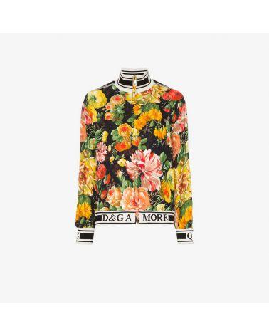 Felpa full zip mix fiori