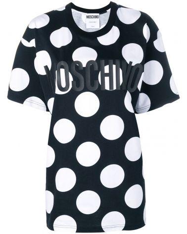 T-Shirt mm giro Moschino pois grandi