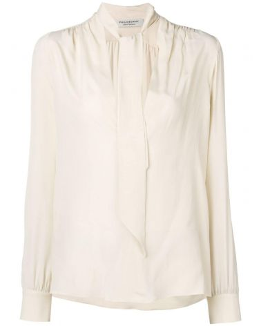 Blusa in crêpe de chine