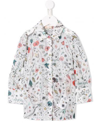 Camicia ml stampa fiori e bottone