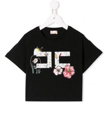 T-Shirt mm c/ricamo doppia C fiori