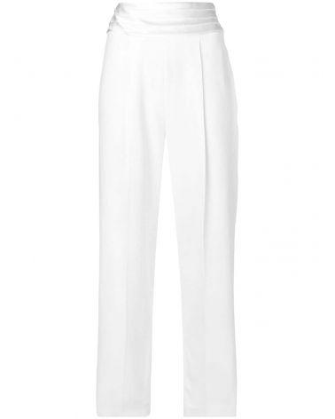 Pantaloni c/pinces e fascia raso plissettata