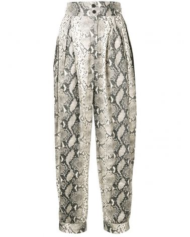 Pantalone in tyvek con stampa pitone