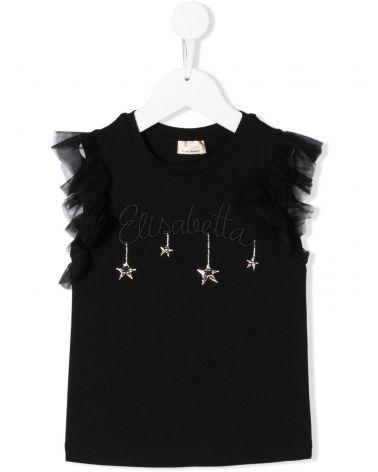T-Shirt mm ricamo Elisabetta / Stelle