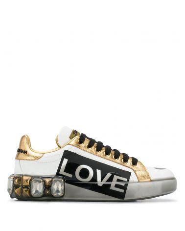 Sneakers vitello nappa + dauphine + scritte