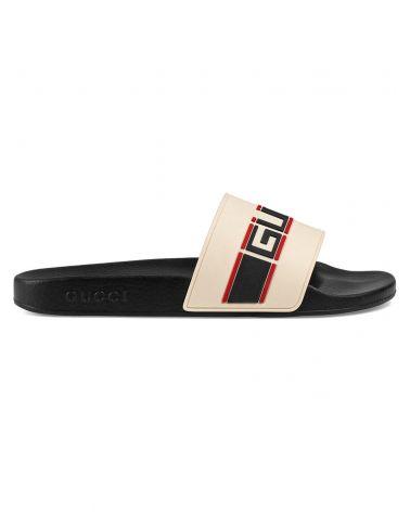 Sandalo slider gomma c/nastro Gucci