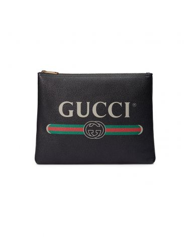 Pouch Gucci Print in pelle media