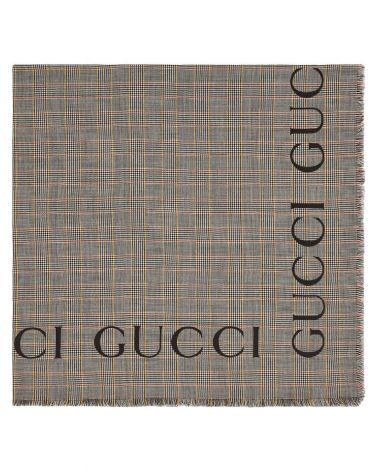 Scialle in lana a quadri con logo Gucci