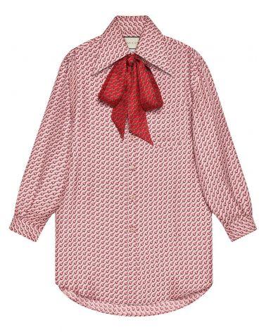 Camicia in seta con stampa staffe
