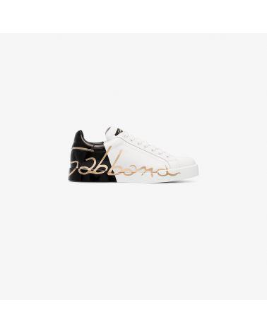 Sneakers vit.nappatto verniciato DG