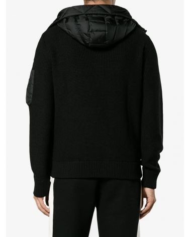 Cardigan tricot full zip c/cappuccio