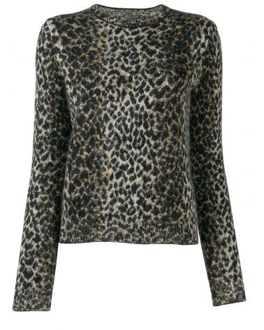 Maglia ml giro jacquard all over leopard