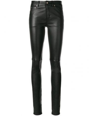 Pantalone 5 tasche pelle stretch