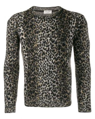 Maglia ml giro jqacquard leopard