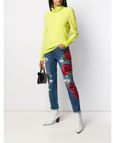 Jeans ricamo rose