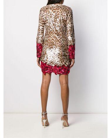 Abito ricamo paillettes leopardo