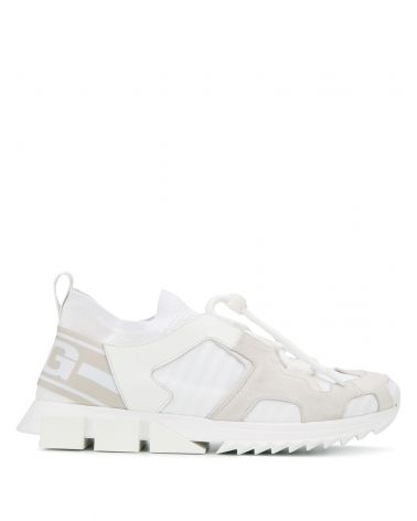 Sneakers bassa maglia + vitello nappa