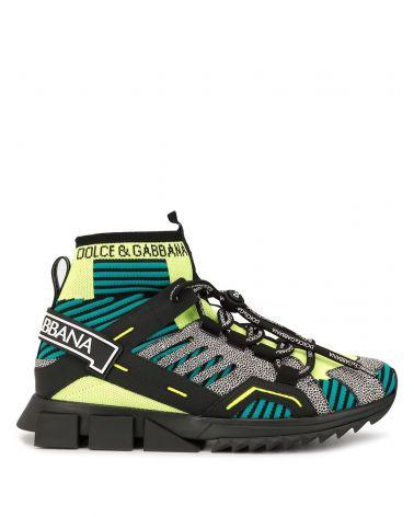 Sneakers alta maglia + blob + nastro