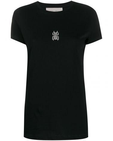 T-Shirt mm giro ricamo + stampa