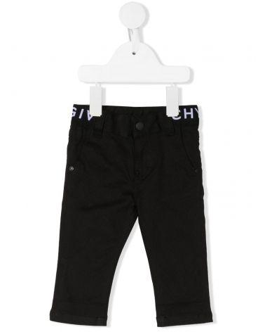 Pantaloni 4 tasche in twill vita elastico logo