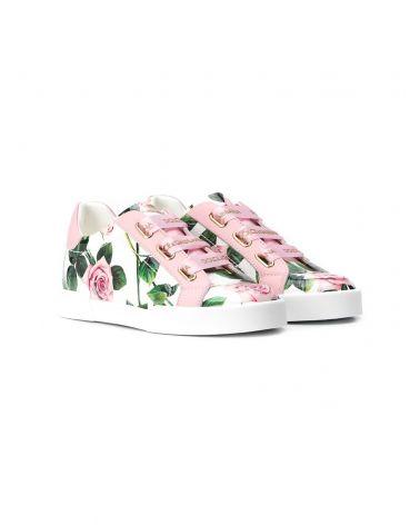 Sneaker vernice stampa rose + nastro
