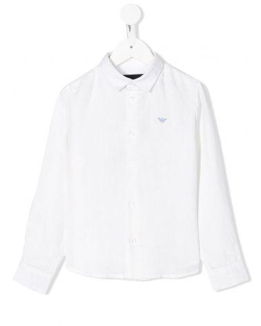 Camicia ml lino con logo ricamato