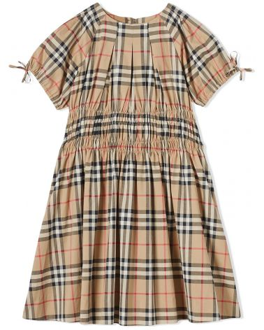 Vestito vintage check c/arricciature