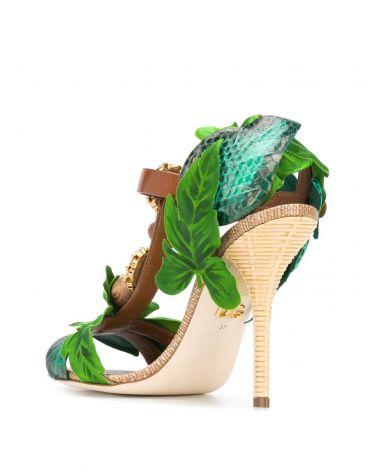 Sandalo vacchetta + paglia + ricamo