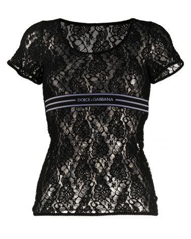 T-Shirt mm pizzo elastico logato