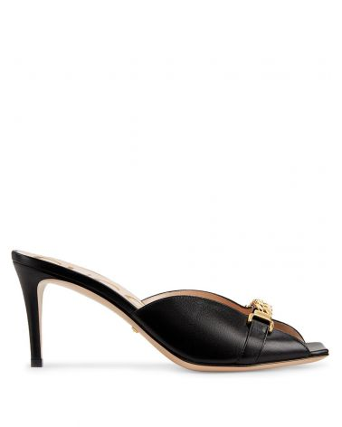 Sandalo slider tacco medio c/catena