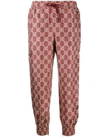 Pantalone in seta stampa GG Supreme