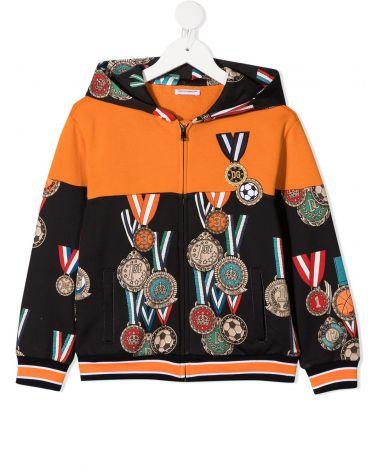 Felpa full zip cappuccio medaglie