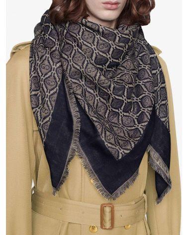 Scialle in lana e cotone motivo GG diamanti