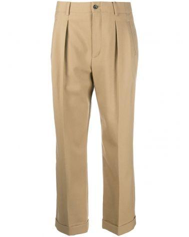 Pantalone gabardine vita alta c/pieghe