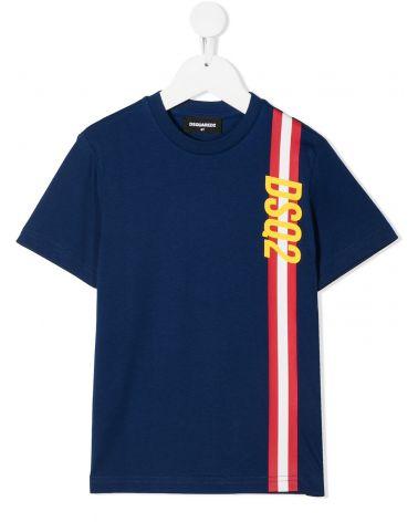 T-Shirt mm giro bande vertivcali Dsq2
