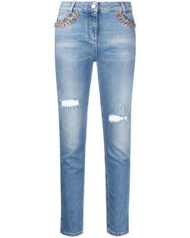 Jeans tasche ricamo