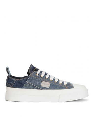 Sneaker bassa jeans patchwork